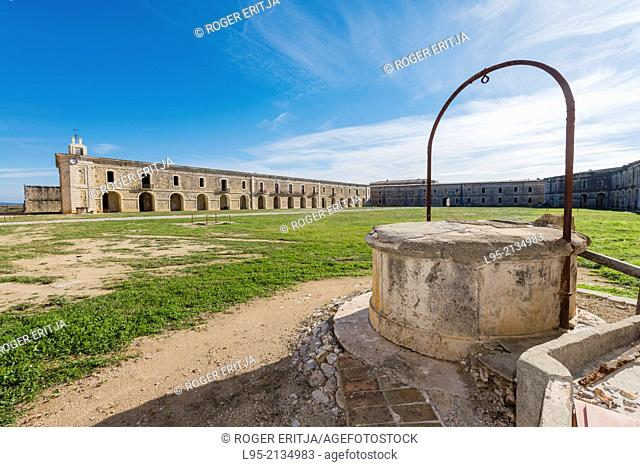 A well accessing the underground giant water reservoir existing below the center yard of the military fortified castle of Sant Ferran, Figueres, Spain