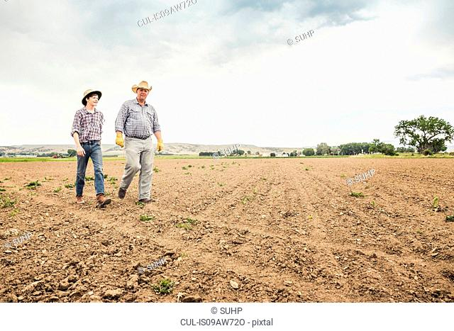 Male farmer and teenage boy walking over ploughed field