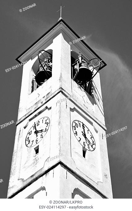monument clock tower in italy europe old stone and bell