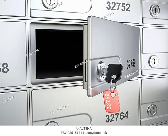 Open safe bank cell and key to the safe. 3d illustration high resolution