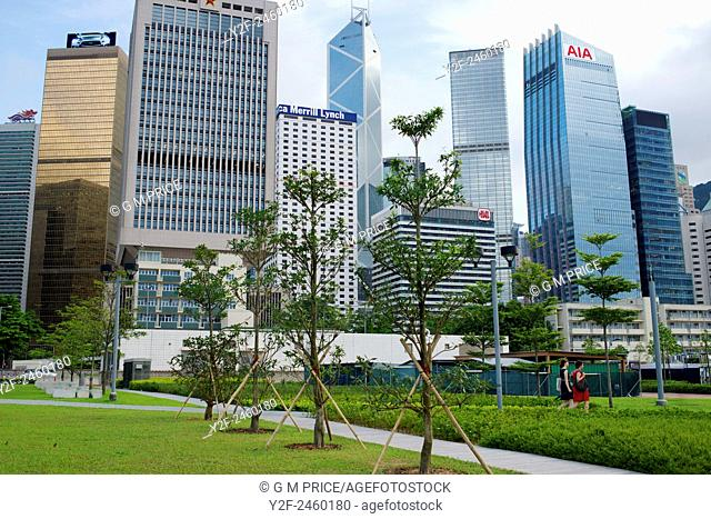 parkland and office buildings near the Admiralty district, Hong Kong, China
