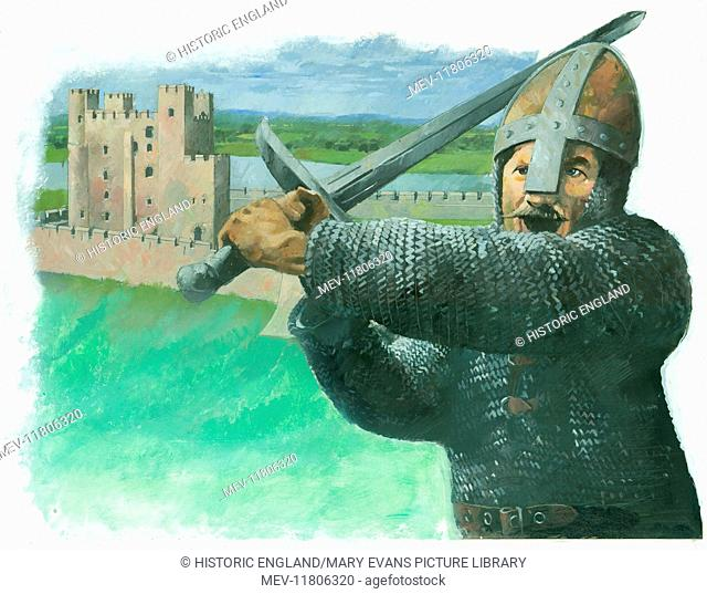 A Norman soldier attacking with a 'hand-and-a-half', a two-handed broadsword. In the background is shown a medieval castle keep