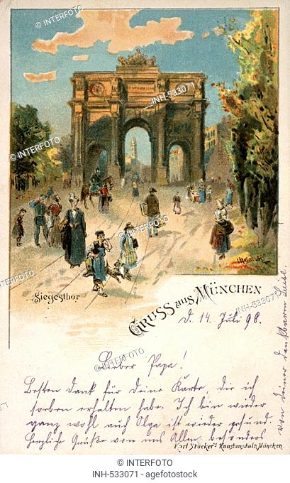 geography/travel, Germany, Munich, monuments, Siegestor, exterior view, watercolor by Heinisch, postcard, 'Greetings from Munich', 1898, historical, historic