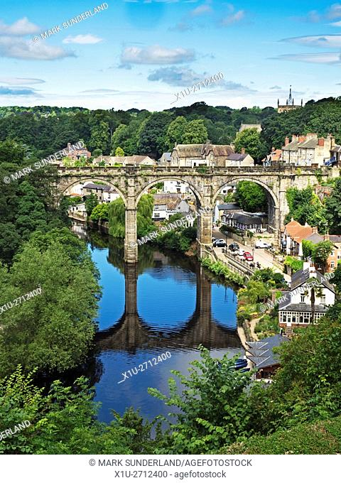 Railway Viaduct over the River Nidd at Knaresborough North Yorkshire England