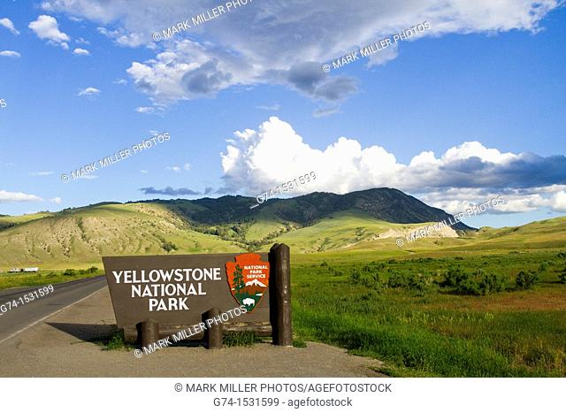 Welcome sign by Gardiner Montana USA to Yellowstone National Park north Entrance