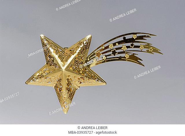 christmas-star, indoors, studio, still life, christmas-decoration, christmas, christmas time, christmassy, wish, star, gold-star, advent-star, advent