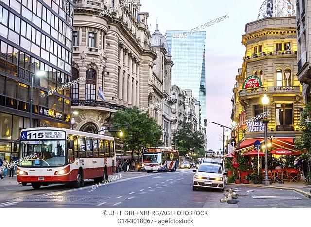Argentina, Buenos Aires, Avenida Cordoba, Galerias Pacifico, Centro Naval, social club, BBVA, buildings, outside, exterior, skyline, contrasting architecture