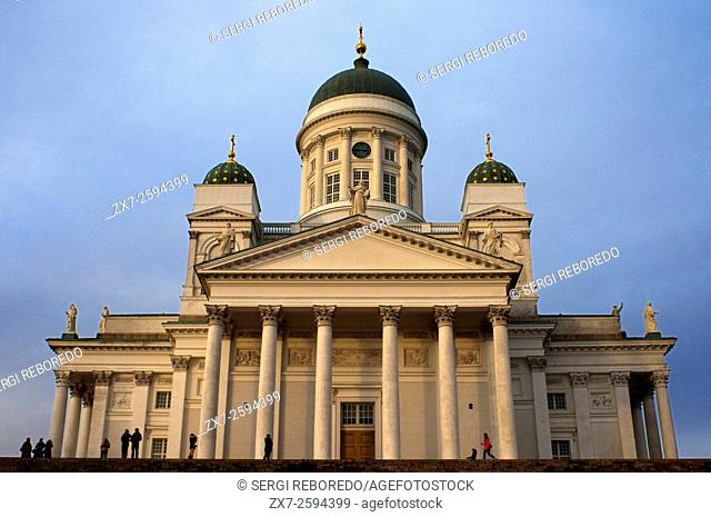The Cathedral of Helsinki, Finland. Helsingin tuomiokirkko or Helsinki Cathedral was built by Carl Engel Lugvig under Russian administration in 1850