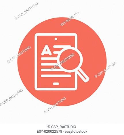 Tablet and magnifying glass searching network thin line icon