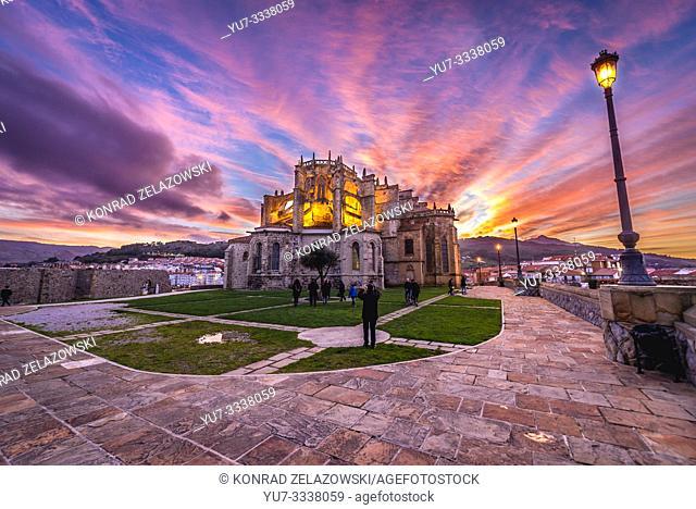 Church of Santa Maria de la Asuncion in Castro Urdiales seaport in Cantabria region of Spain, view with San Pedro hermitage ruins on left