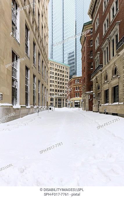 Street view after blizzard in Boston, Suffolk County, Massachusetts, USA