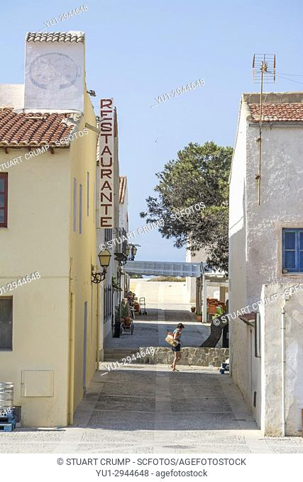 View of the narrow streets which cross the Spanish island of Tabarca