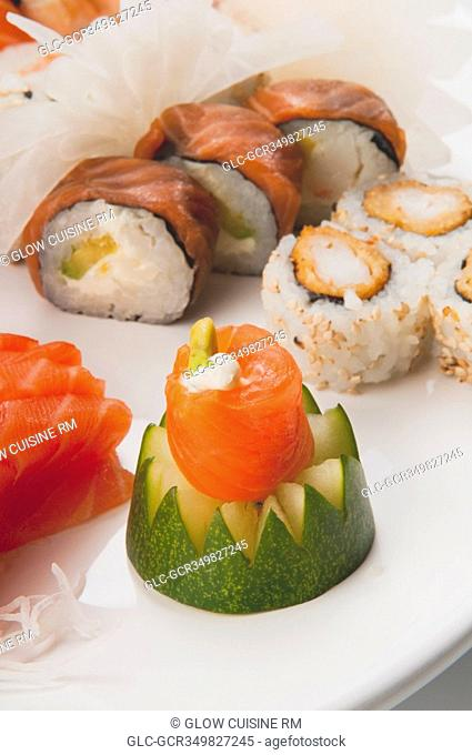 Close-up of a platter of assorted sushi