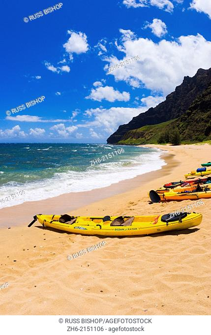 Sea kayaks on Miloli'i Beach, Na Pali Coast, Island of Kauai, Hawaii USA