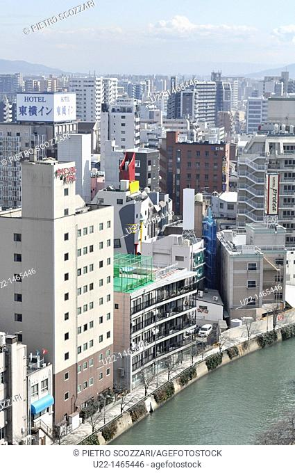 Fukuoka (Japan): view of the city, with the Naka-gawa River, from the ACROS Fukuoka building's rooftop