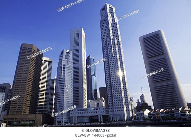Low angle view of skyscrapers in a city, Singapore
