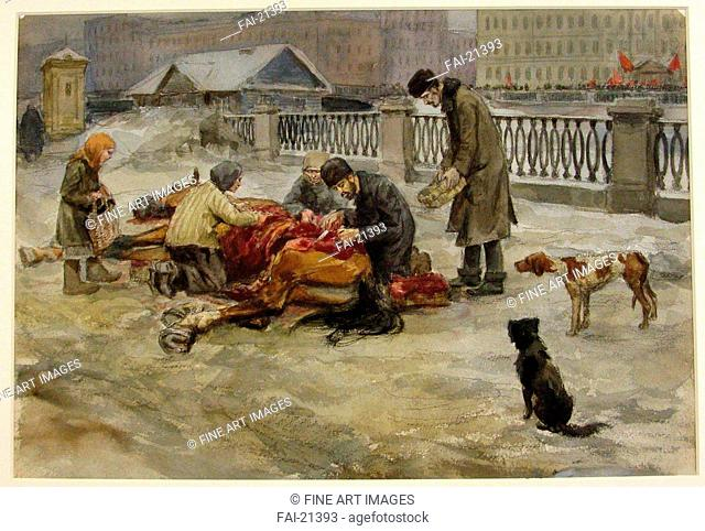 Petrograd in 1918 (from the series of watercolors Russian revolution). Vladimirov, Ivan Alexeyevich (1869-1947). Watercolour on paper