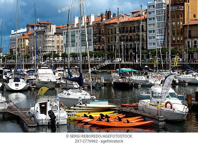 Marina, The pier of Gijon City, Asturias, Spain. One of the stops of the Transcantabrico Gran Lujo luxury train