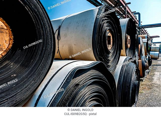 Rolls of material in yard of castor wheel production factory, Ballenstedt, Germany