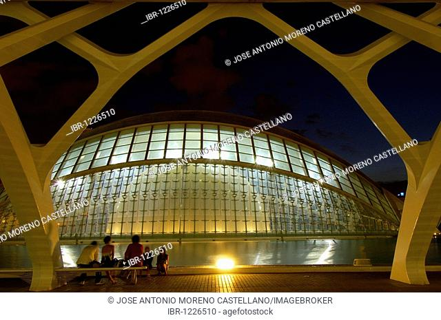 L'Hemisferic at dusk, by S. Calatrava, City of Arts and Sciences, Comunidad Valenciana, Valencia, Spain, Europe
