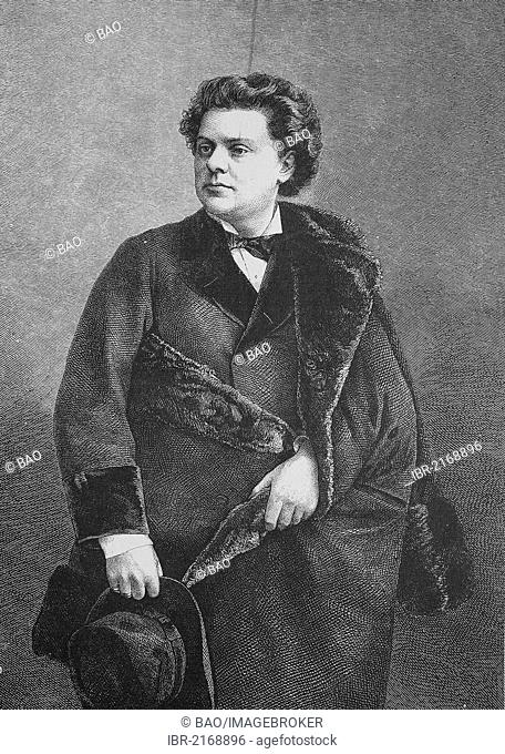 August Wilhelmj, 1845 - 1908, a German violinist, historical engraving, 1883