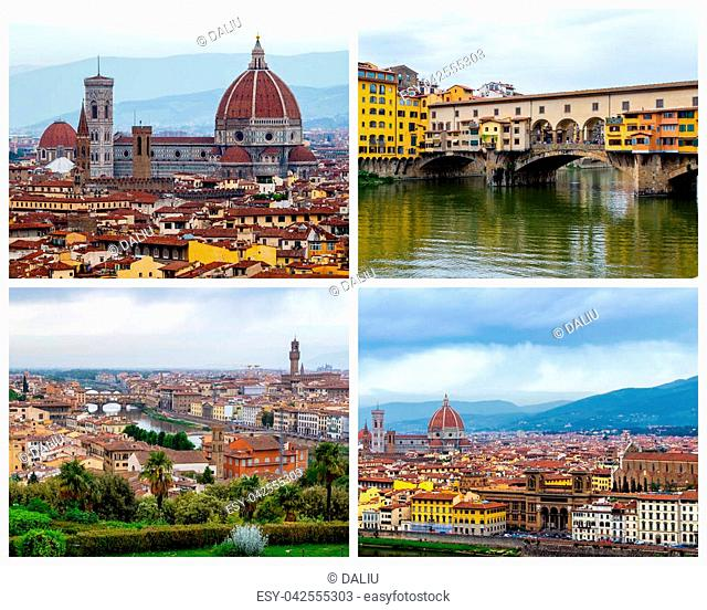 Collage of Florence photos in Italy (Ponte Vecchio, Florence Cathedral, Duomo, Bell Tower)