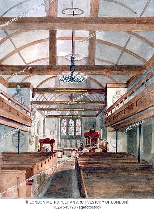 Interior view of St Pancras Old Church, London, 1853