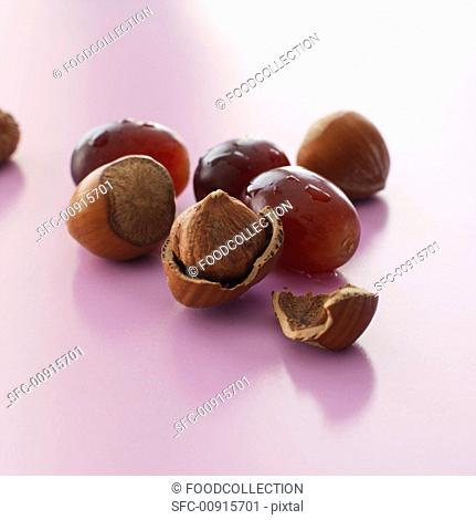 Hazelnuts and red grapes