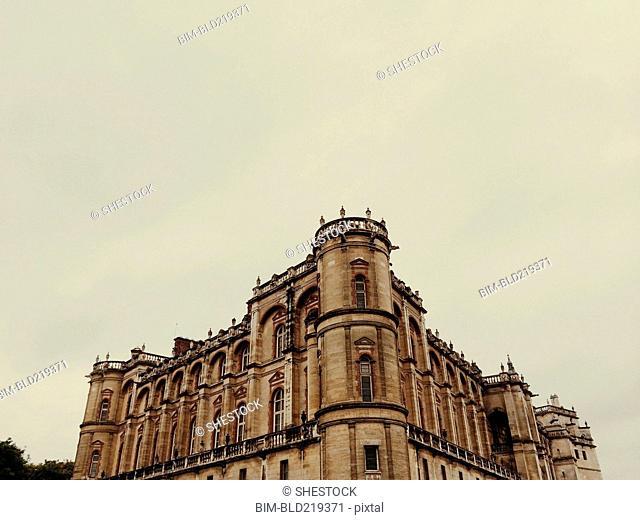 Low angle view of ornate historic building, Paris, Ile-de-France, France