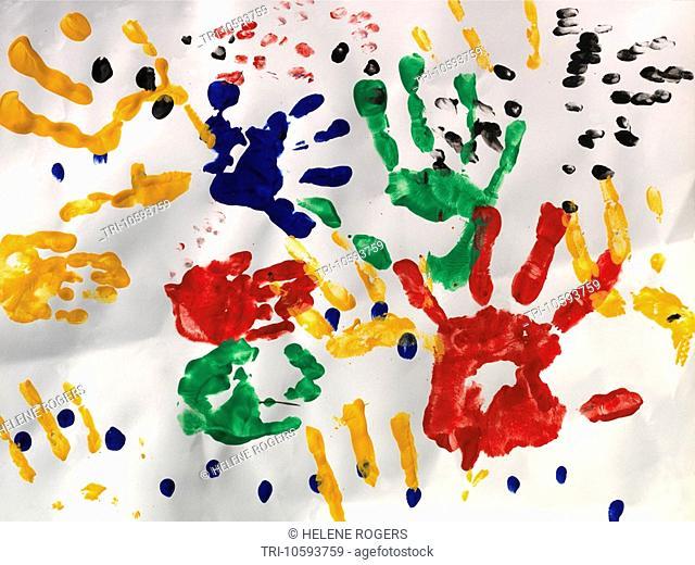 Multi coloured Handprints on White Background