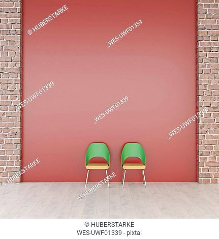 Two chairs in front of red wall, 3d rendering