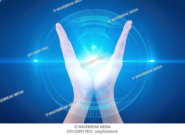 Composite image of hands gesturing against blue background