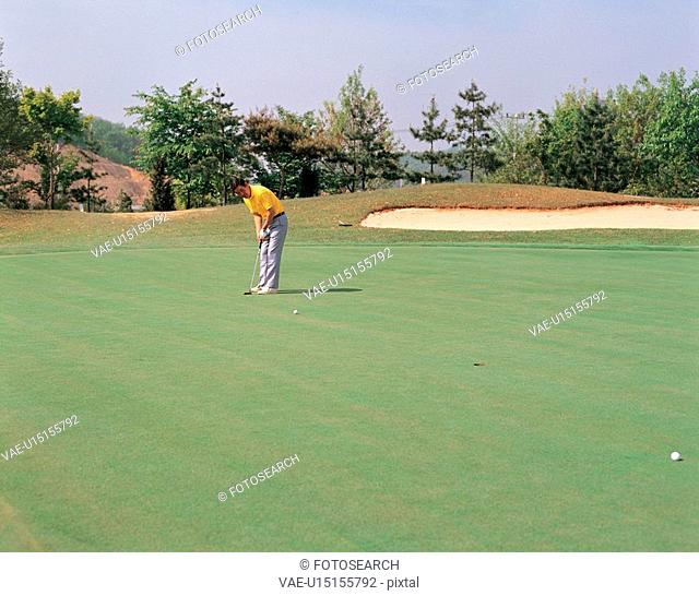 landscape, human, nature, golf, person, field, sports