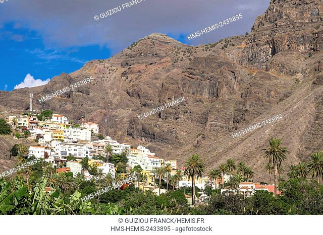 Spain, Canary Islands, La Gomera island declared a Biosphere Reserve by UNESCO, Valle Gran Rey is the most popular searesort of the island, La Calera area