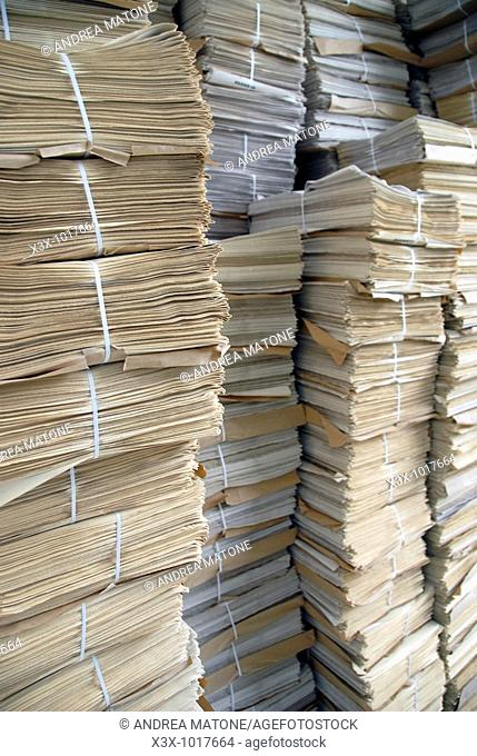Piles of paper in stock