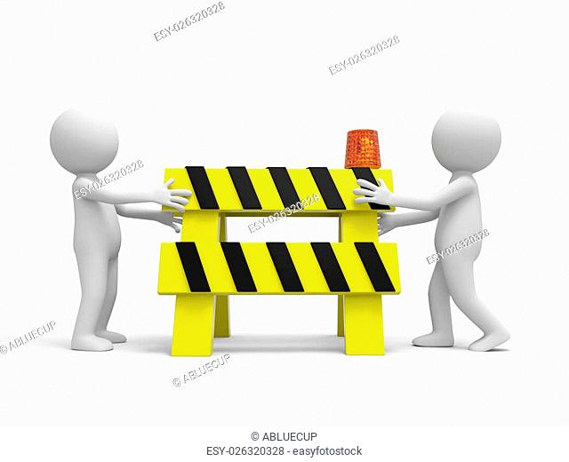 Two 3d people carrying the roadblocks/red/yellow/black