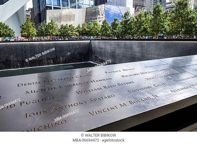 USA, New York, New York City, Lower Manhattan, names inscribed on the National September 11 Memorial fountain