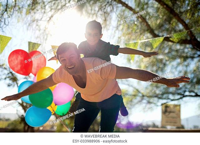 Father and son enjoying together in the park