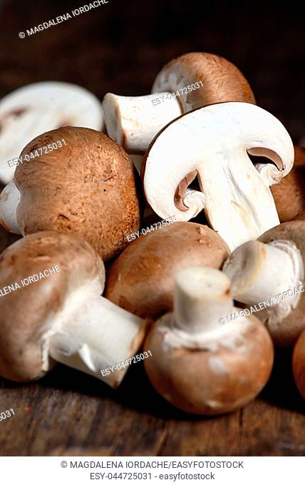 Mushrooms on a wooden kitchen table