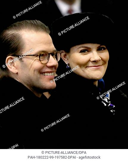 Crown Princess Victoria and Prince Daniel of Sweden at the Holy Mass at Vilnius Cathedral in Vilnius, on February 16, 2018