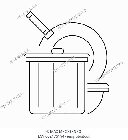 Kitchen cookware line icon or logo, vector illustration