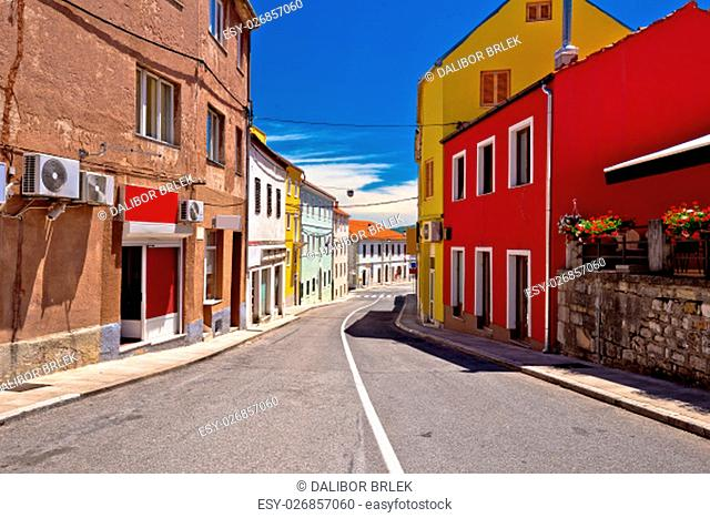 Town of Drnis colorful street view, inland Dalmatia, Croatia
