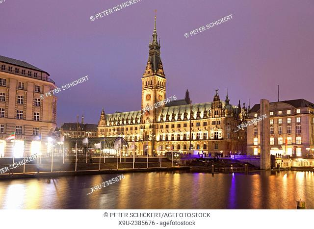City Hall and Kleine Alster canal, Hamburg, Germany, Europe