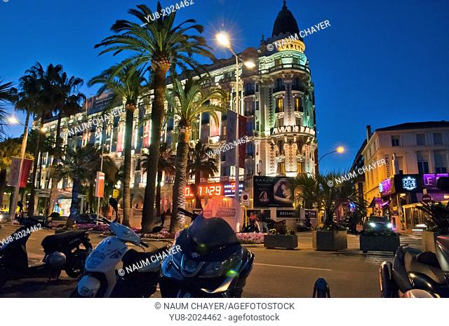?he lights of the famous Hotel Carlton, Cannes, French Riviera, France