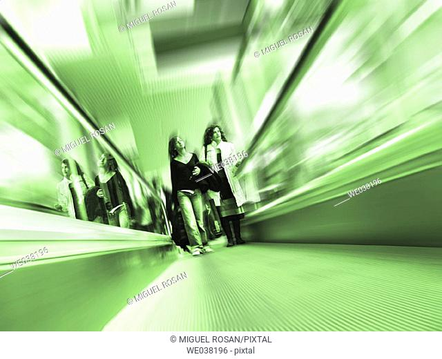 Moving walkway. SIMO TCI, International Computing, Multimedia and Communications Expo. IFEMA. Madrid. Spain