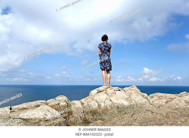 Woman looking at sea, rear view