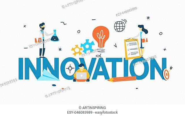Innovation concept. Idea of innovative technology. Creative mind. Light bulb as a metaphor of idea. Isolated line vector illustration