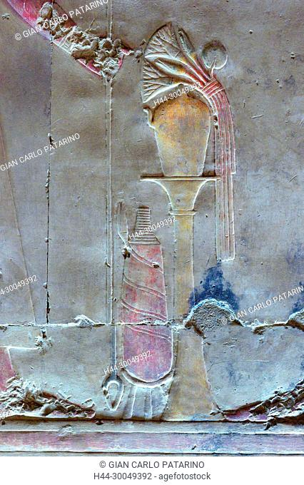 Abydos,Egypt, the mortuary temple of pharaoh Seti I, Menmaatra, (XIX° dyn. 1321-1186 B.C.) - a sacred vase with flowers
