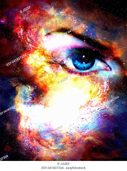 Woman eye in cosmic background. Painting and graphic design