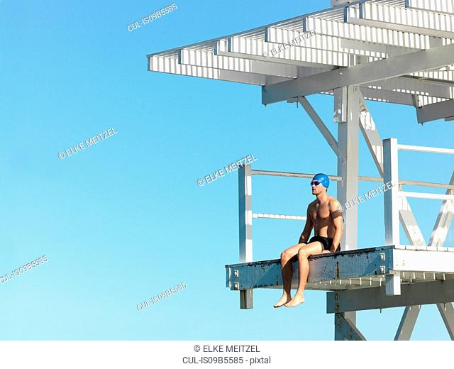 Diver on diving platform, Geelong, Victoria, Australia